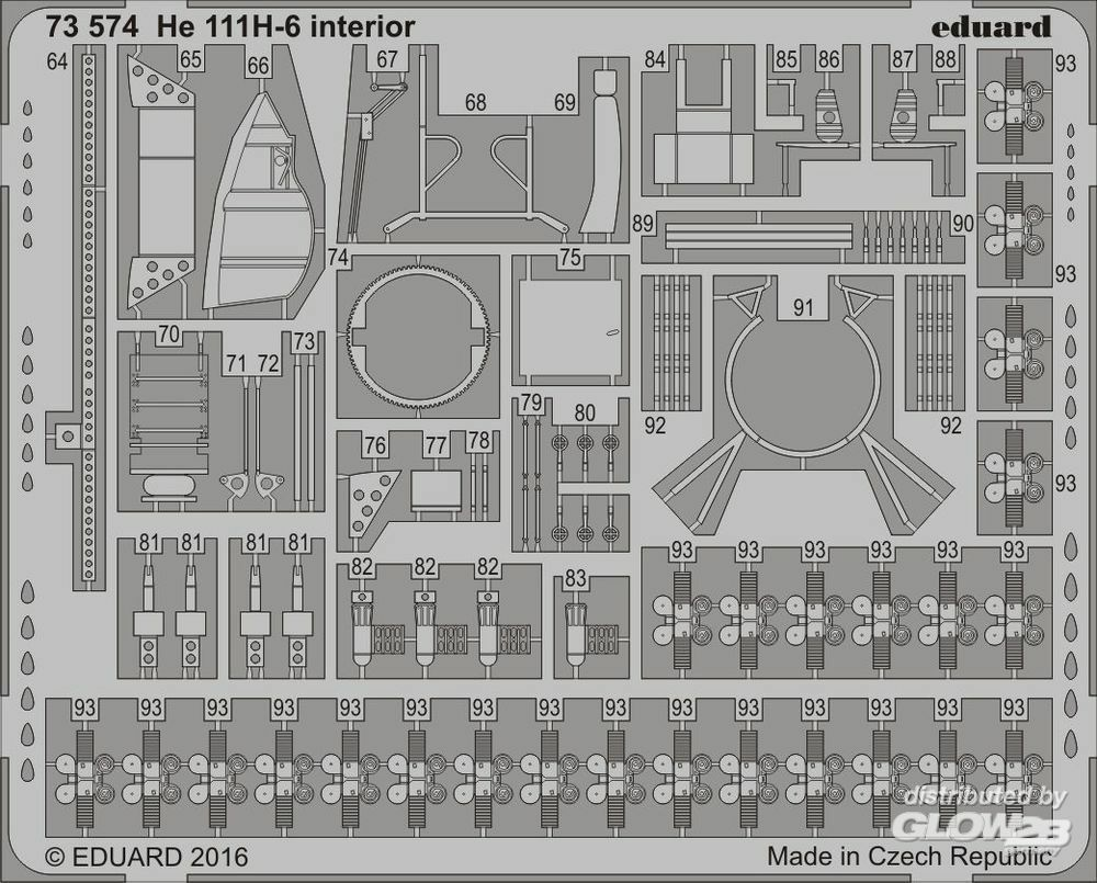 Eduard Accessories 73574 HE 111H-6 interior for Airfix in 1:72