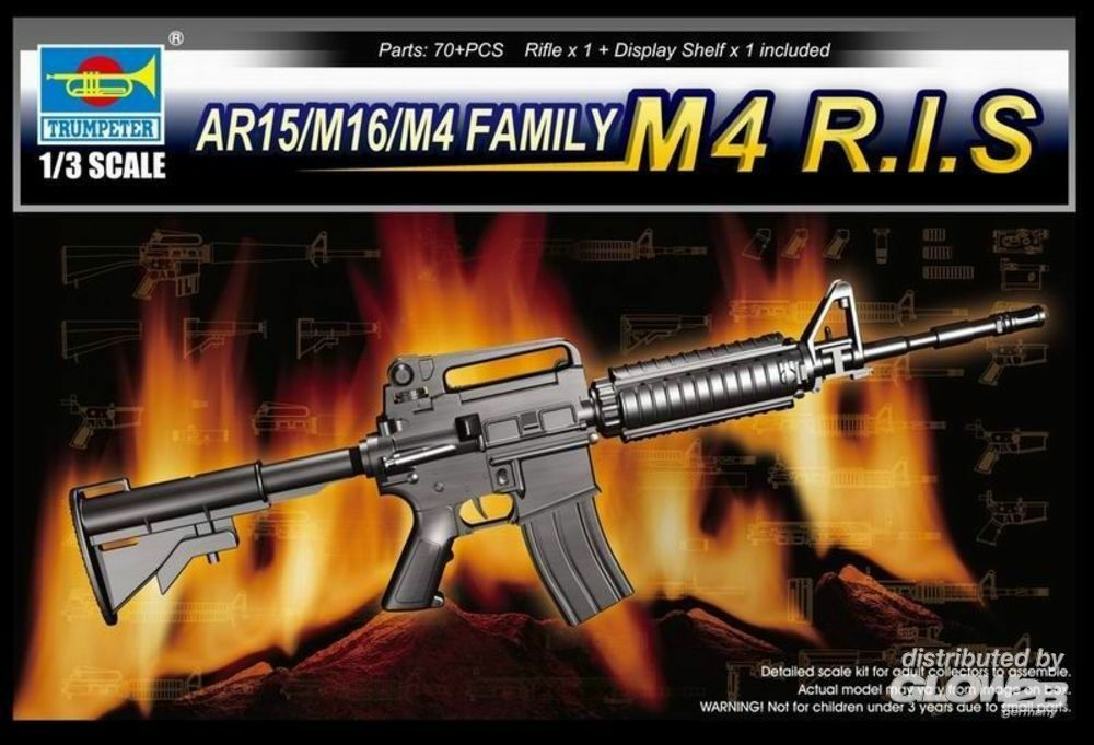 Trumpeter 01910 AR15/M16/M4 Family-M4 R.I.S. in 1:3
