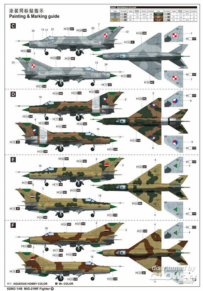 Trumpeter 02863 MiG-21MF Fighter in 1:48