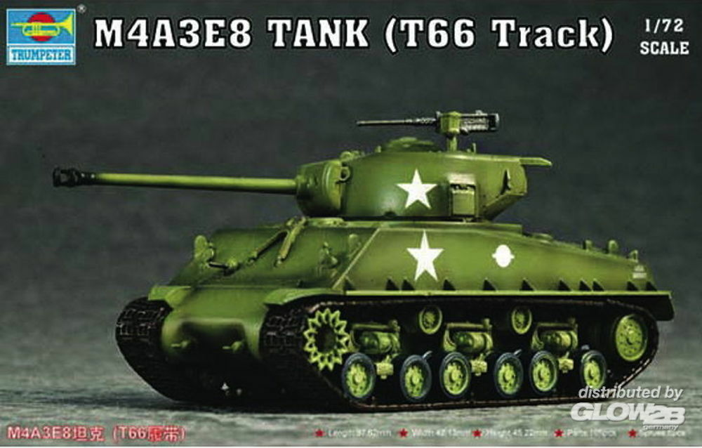 Trumpeter 07225 M4A3E8 Tank (T66 Track) in 1:72
