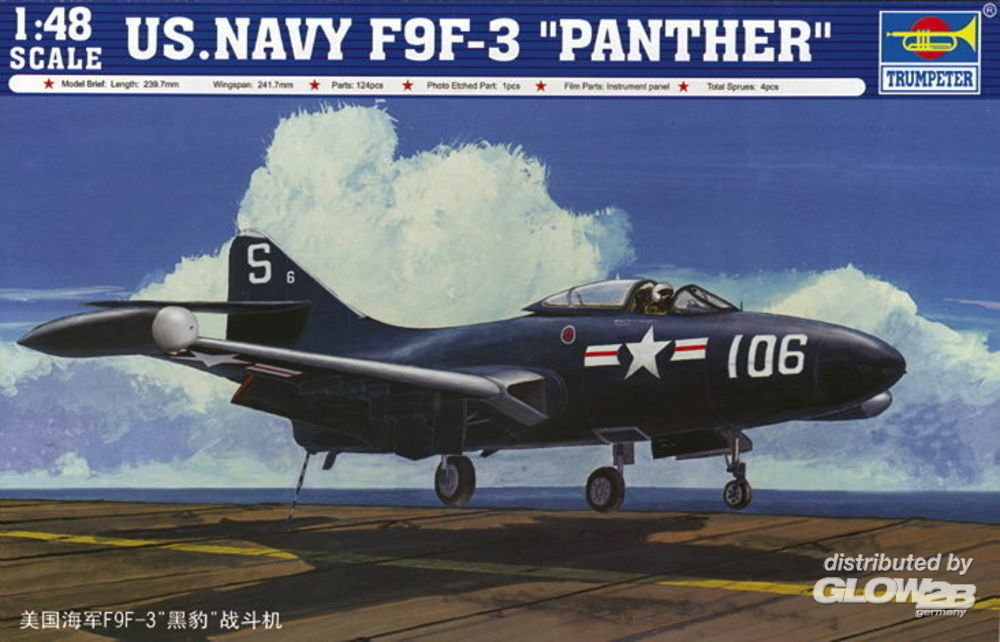Trumpeter 02834 US Navy F9F-3 `Panther` in 1:48