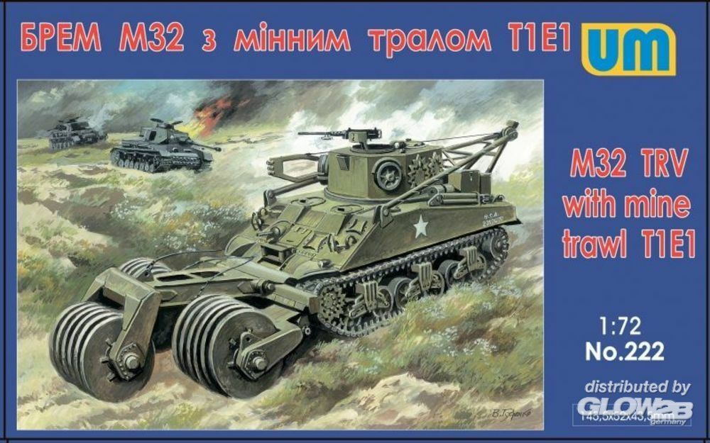 Unimodels UM222 M32 tank recovery vehicle with mine traw in 1:72