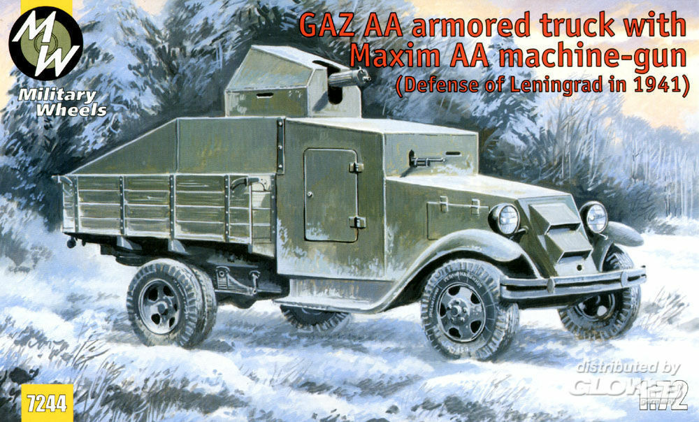 Military Wheels MW7244 GAZ AA armored truck with Maxim AA gun in 1:72