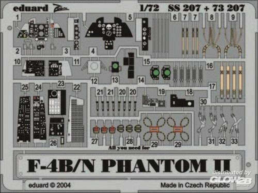Eduard Accessories 73207 F-4B/N Phantom II in 1:72