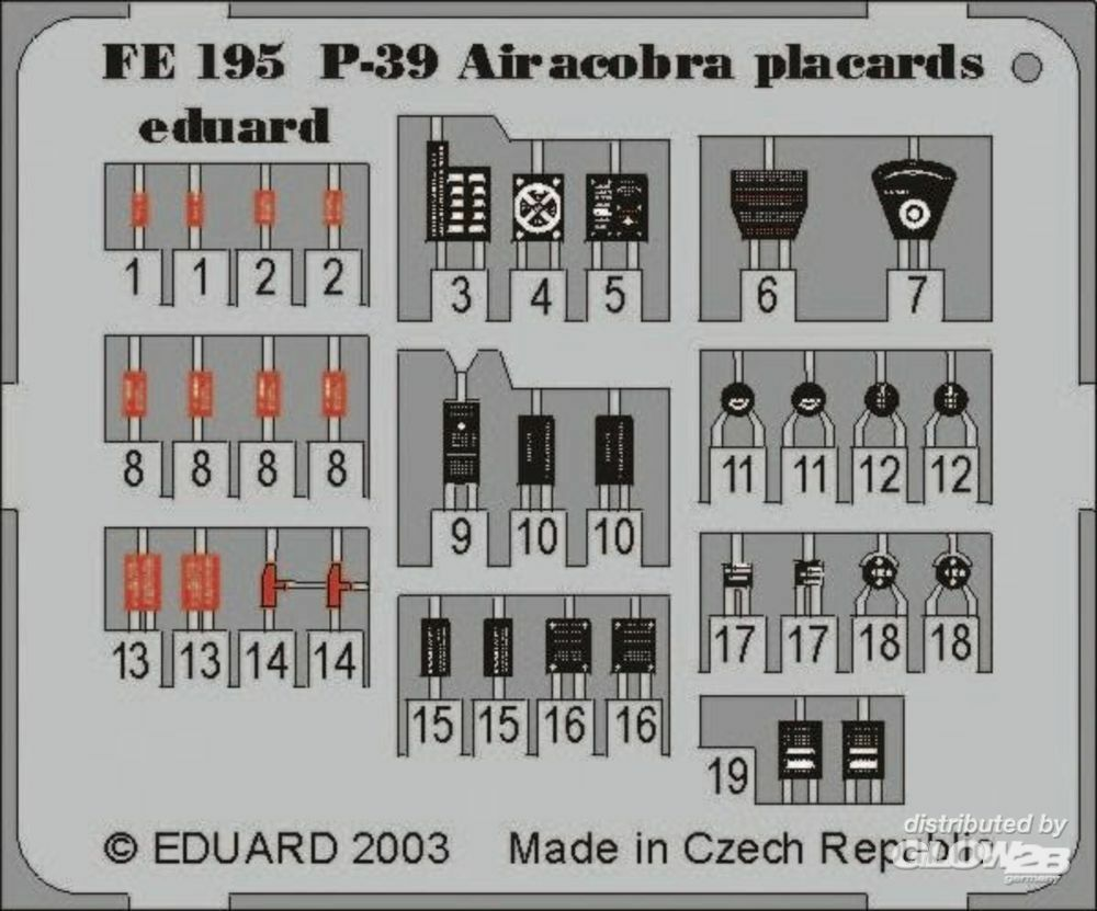 Eduard Accessories FE195 P-39 Airacobra Placards in 1:48