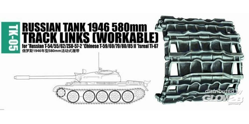 Trumpeter 02035 Russian tank 1946 580mm for Russian T-54/55/62/ZSU-57-2, Chinese T-59/69/79/80/85II