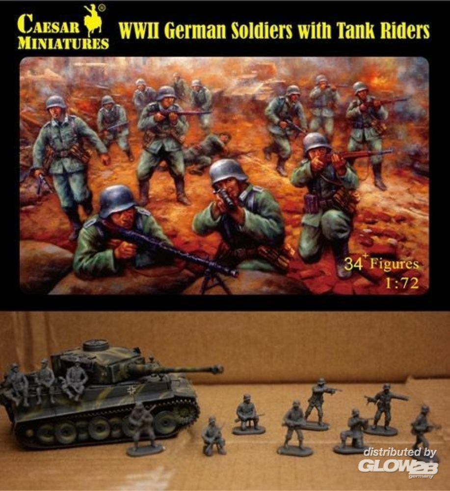 Caesar Miniatures H077 WWII German Soldiers with Tank Riders in 1:72