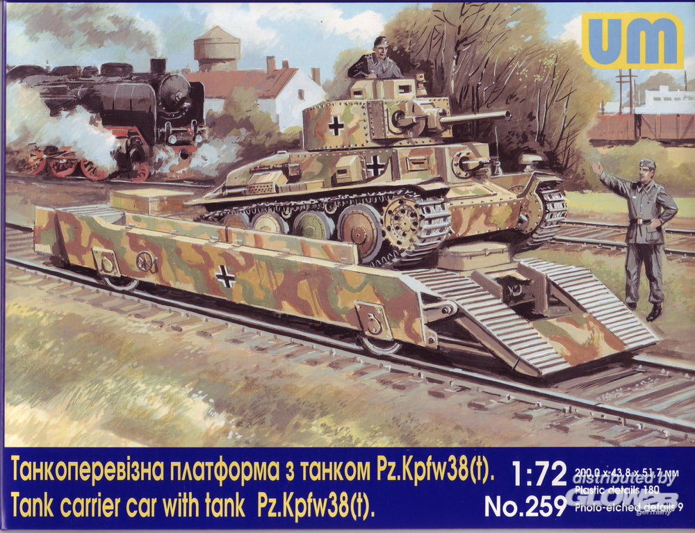 Unimodels UM259 Tank carrier car with Pz.Kpfw. 38(t) in 1:72