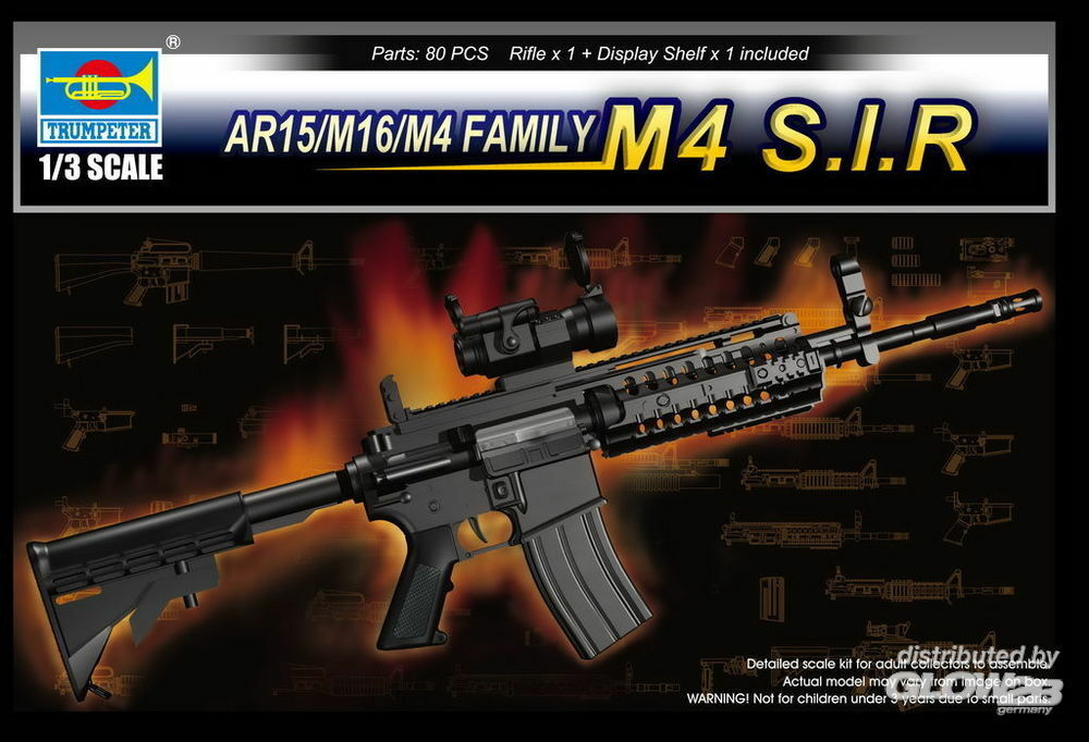 Trumpeter 01916 AR15/M16/M4 Family-M4 S.I.R. in 1:3