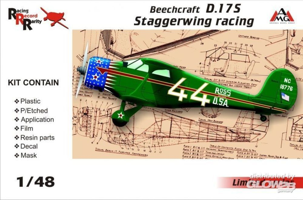 AMG AMG48503 Beechcraft D.17S Staggerwing racing in 1:48