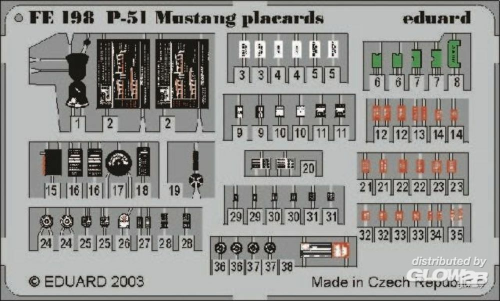 Eduard Accessories FE198 P-51 Mustang placards in 1:48