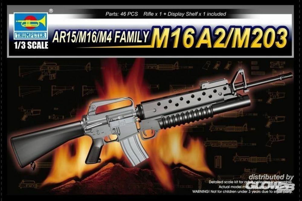 Trumpeter 01904 AR15/M16/M4 FAMILY-M16A2/M203 in 1:3