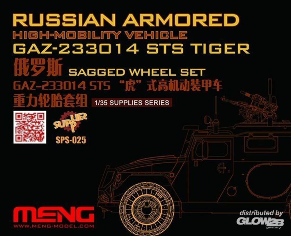 MENG-Model SPS-025 Russian Armored High-mobility VehicleGAZ 233014STS Tiger Sagged WheelSet in 1:35
