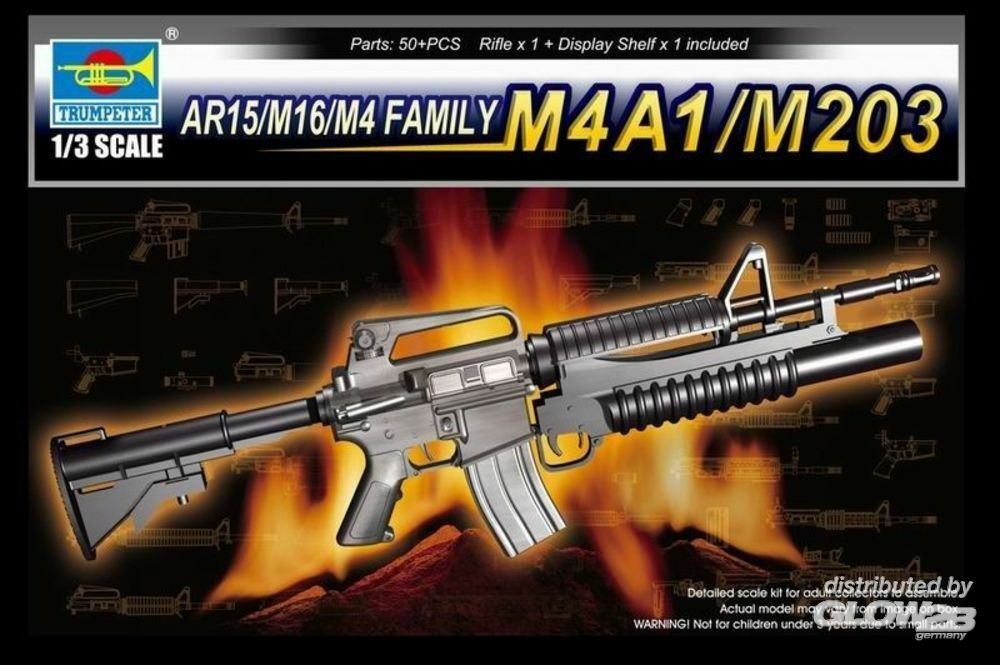 Trumpeter 01909 AR15/M16/M4 Family-M4A1/M203 in 1:3