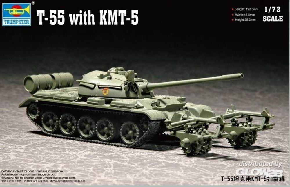 Trumpeter 07283 T-55 with KMT-5 in 1:72