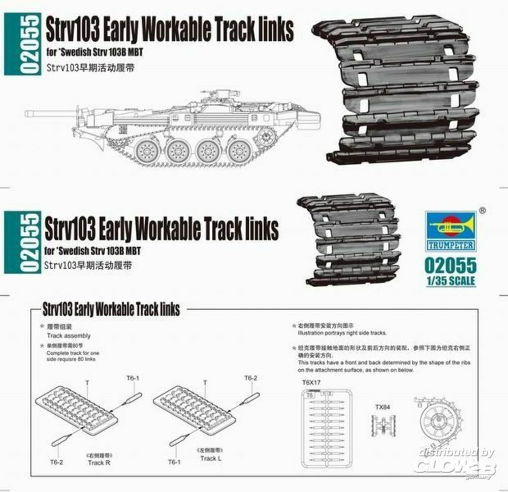 Trumpeter 02055 Strv103 early Workable Track links in 1:35