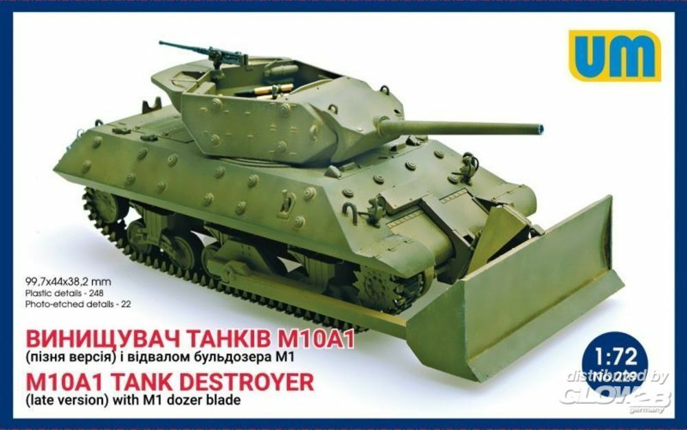Unimodels UM229 M10A1 tank destroyer (late)with M1 dozer blade in 1:72