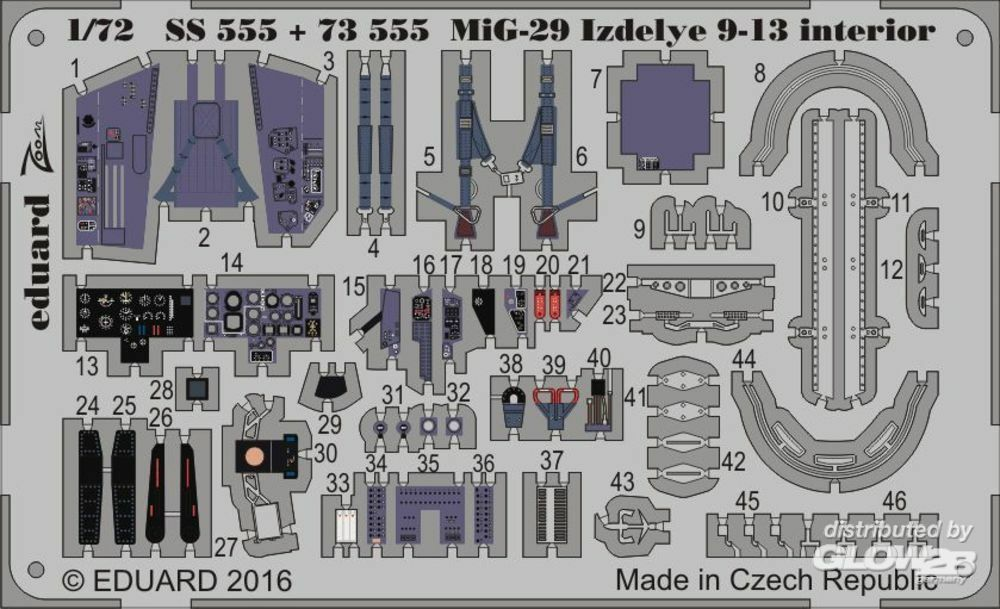 Eduard Accessories 73555 MiG-29 Izdelye 9-13 for Zvezda in 1:72