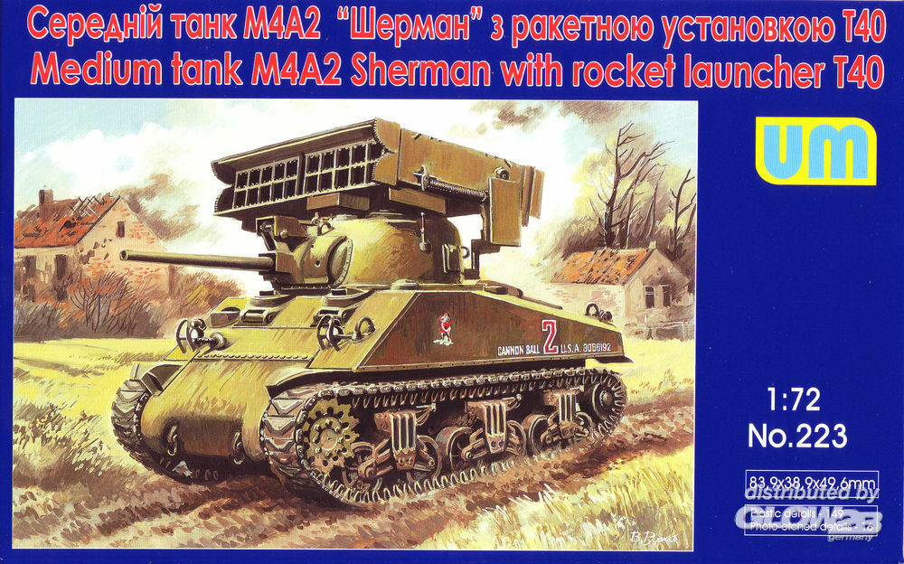 Unimodels UM223 Tank M4A2 with T40 rocket launcher in 1:72
