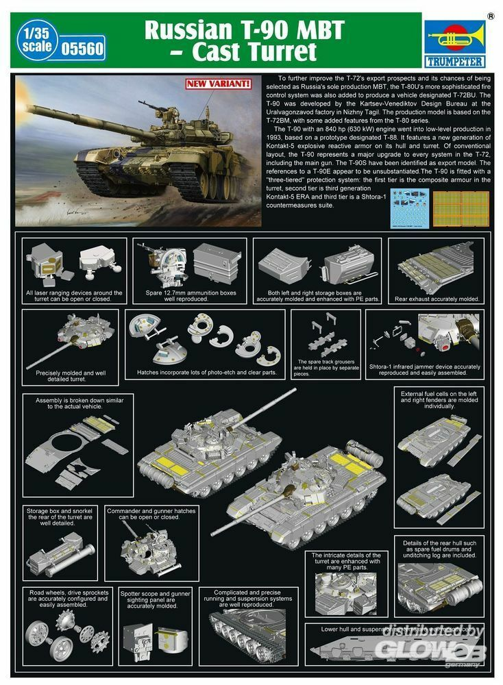 Trumpeter 05560 Russian T-90A MBT - Cast Turret in 1:35
